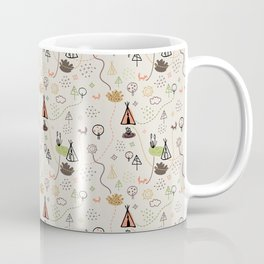 Tiny Tribes, ethnical doodles on beige background Coffee Mug