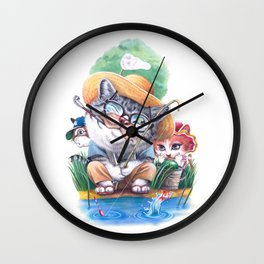 A cat family on the summer holiday Wall Clock