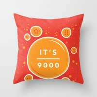 dragonball Throw Pillows featuring IT'S OVER 9000 (Dragonball) by Jacob Waites