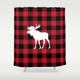 Red Buffalo Plaid Moose Shower Curtain
