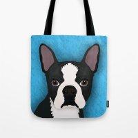 terrier Tote Bags featuring Boston terrier by Nir P