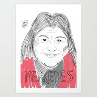 mercedes Art Prints featuring MERCEDES SOSA by JJ Richards