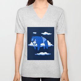 Cute Cartoon Animal Art Baby Sloth Sleeping In Clouds In Blue Unisex V-Neck