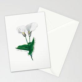 Every Time I Think of You White Flowers Illustration Lyric Stationery Cards