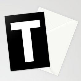 Letter T (White & Black) Stationery Cards