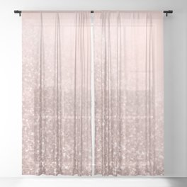 Rose Gold Sparkles on Pretty Blush Pink VI Sheer Curtain