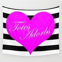 totes Wall Tapestries featuring Totes Adorbs Purple Heart  by The Trendy Sparrow