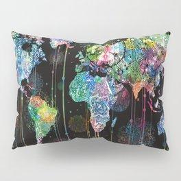 world map mandala black 1 Pillow Sham
