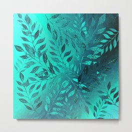 Monochrome Leaf Arrangement (Teal) Metal Print