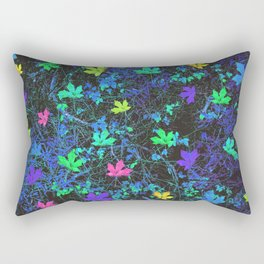 maple leaf in pink green purple blue yellow with blue creepers plants background Rectangular Pillow