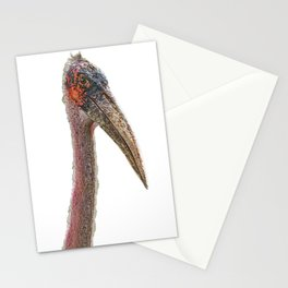 Marabou Stork Face Bird Ruined by Battles Life Stationery Cards