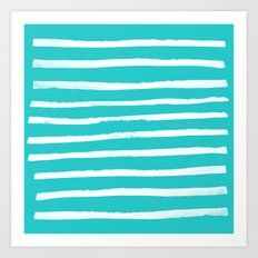 Simple Stripes - Aqua Art Print