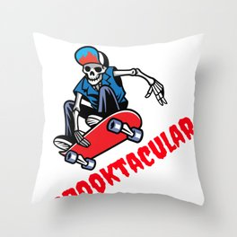 Spooktacular Halloween Skater Skeleton Dude Throw Pillow