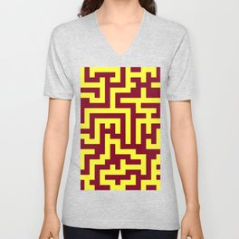 Electric Yellow and Burgundy Red Labyrinth Unisex V-Neck