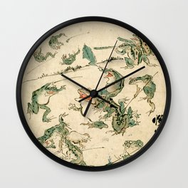 Kawanabe Kyosai Dream of the War of the Frogs Wall Clock