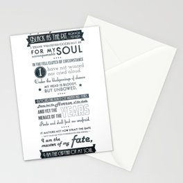 Typographic design - Invictus Stationery Cards