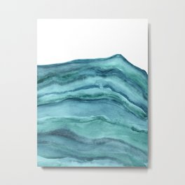 Watercolor Agate - Teal Blue Metal Print