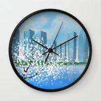 tintin Wall Clocks featuring Blossom City by Kennie Gathuru