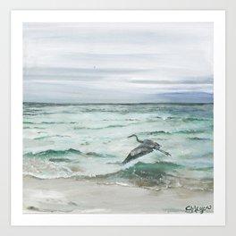 Anna Maria Island Florida Seascape with Heron Art Print