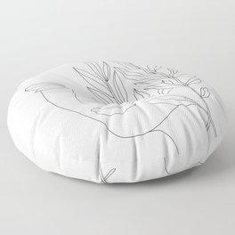Minimal Line Art Woman Face Floor Pillow