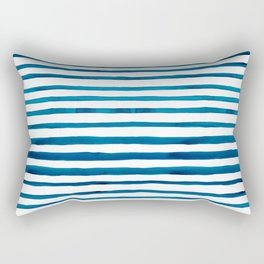 Watercolor Stripes in Classic Blue Rectangular Pillow