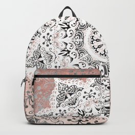 Dreamer Mandala White On Rose Gold Backpack