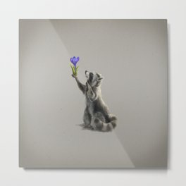 Raccoon with Flower (Spring is coming) Metal Print