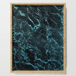 Black & Teal Color Marble Serving Tray