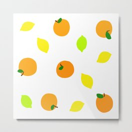 Citrus with Yellow, Orange and Green Oranges, Lemons and Limes Metal Print