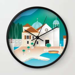Kotor Bay, Montenegro - Skyline Illustration by Loose Petals Wall Clock