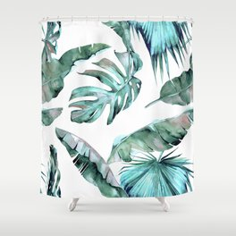 Tropical Palm Leaves Blue Green on White Shower Curtain