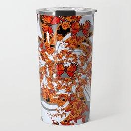 Modern Monarch Butterfly Abstract Art Travel Mug