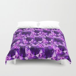 February Babies Purple Amethyst Gems Abstract Duvet Cover