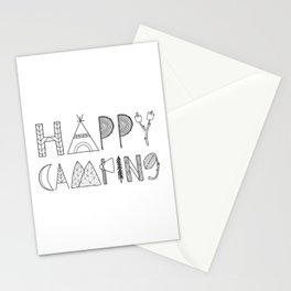 Happy Camping in black Stationery Cards
