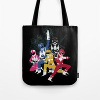 power rangers Tote Bags featuring power glove rangers by Louis Roskosch