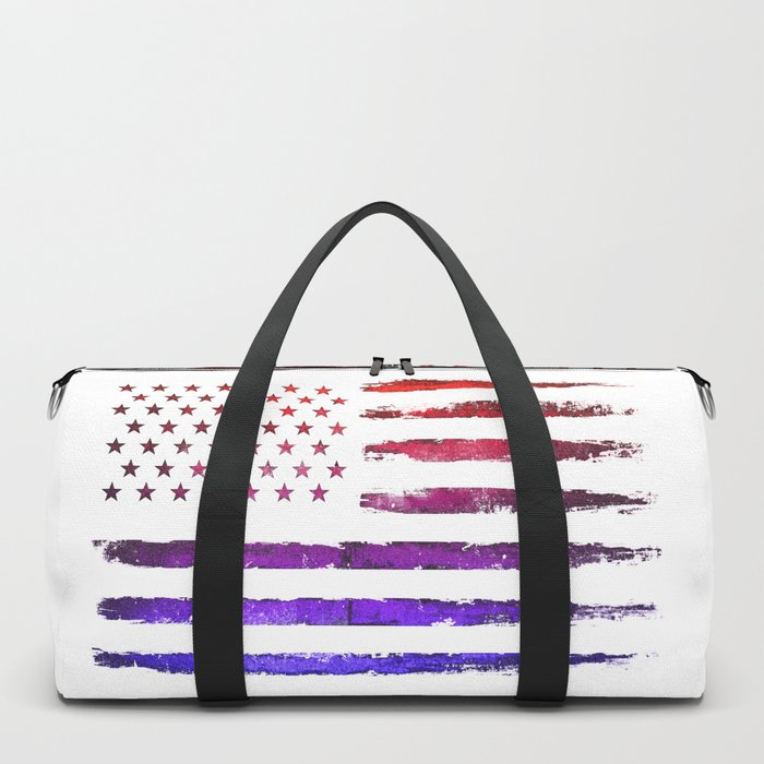 Red & blue gradient USA flag Duffle Bag
