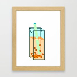 Peach Boba Tea Framed Art Print