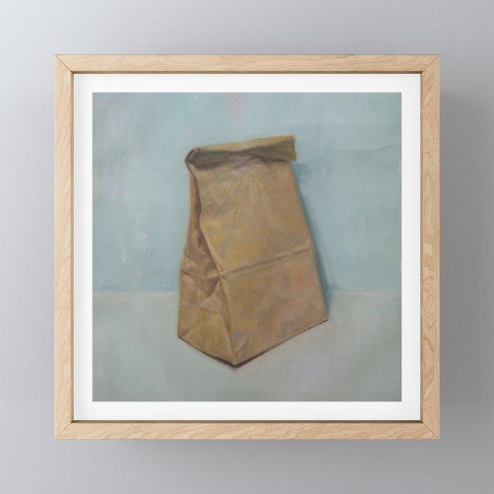 Schrödinger S Bubble Gum Brown Paper Bag Framed Mini Art Print By Alexandergrahovsky