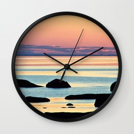 Circle of Rocks and the Sea at Dusk Wall Clock