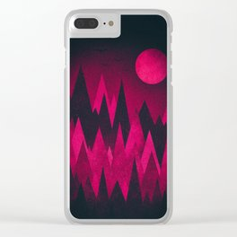 Dark Triangles (Peak Woods) Abstract Grunge Mountains Design (red/black) Clear iPhone Case