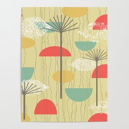 Barkcloth Abstract Flowers Poster