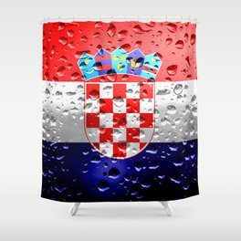 Flag of Croatia - Raindrops Shower Curtain