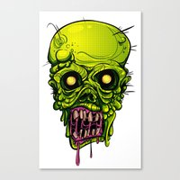 zombie Canvas Prints featuring Zombie by Lady Macabre Art