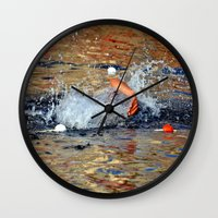 swimming Wall Clocks featuring swimming by  Agostino Lo Coco