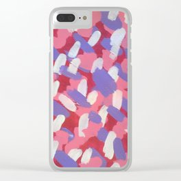 Pink and Purple Brushstrokes Art Clear iPhone Case