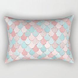 Mermaid Art, Cute, Coral and Teal, Fun Bathroom Art Rectangular Pillow
