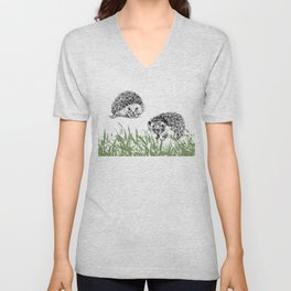 Hedgehogs print Unisex V-Neck
