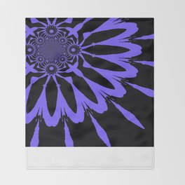The Modern Flower Black & Periwinkle Throw Blanket