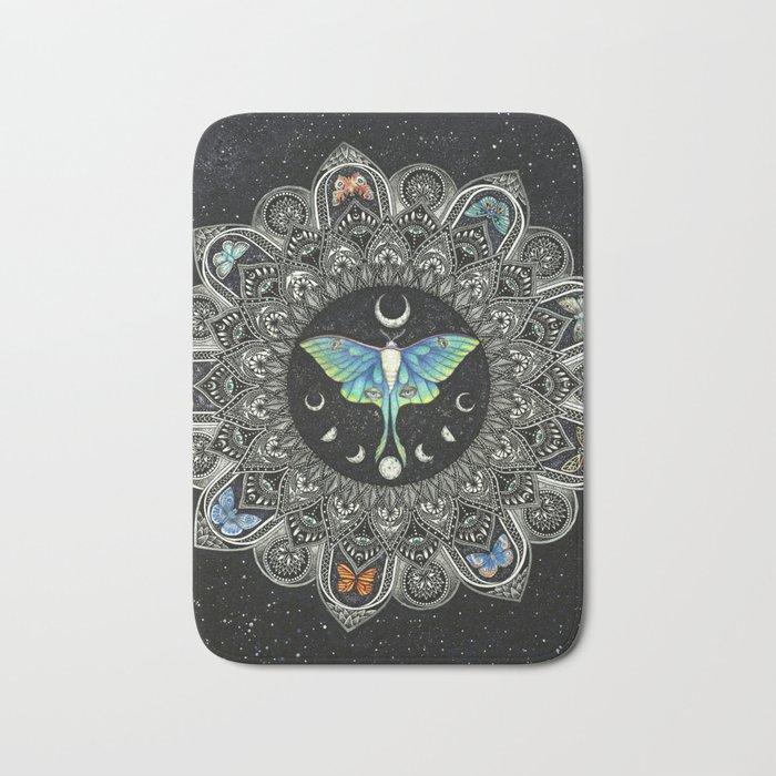Lunar Moth Mandala with Background Bath Mat
