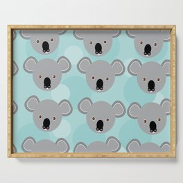 koala Seamless pattern with funny cute animal face on a blue background Serving Tray